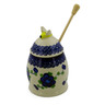 5-inch Stoneware Honey Jar with Dipper - Polmedia Polish Pottery H0963K