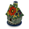 5-inch Stoneware House Shaped Candle Holder - Polmedia Polish Pottery H0921E