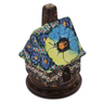 5-inch Stoneware House Shaped Candle Holder - Polmedia Polish Pottery H0925E