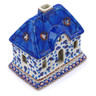 5-inch Stoneware House Shaped Candle Holder - Polmedia Polish Pottery H2630I