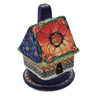5-inch Stoneware House Shaped Candle Holder - Polmedia Polish Pottery H5504F