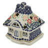 5-inch Stoneware House Shaped Candle Holder - Polmedia Polish Pottery H7622K