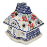 5-inch Stoneware House Shaped Candle Holder - Polmedia Polish Pottery H7951K