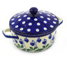 5-inch Stoneware Jar with Lid and Handles - Polmedia Polish Pottery H6095F