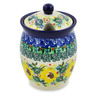 5-inch Stoneware Jar with Lid with Opening - Polmedia Polish Pottery H8450J