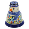 5-inch Stoneware Snowman Candle Holder - Polmedia Polish Pottery H2982K