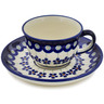 5 oz Stoneware Cup with Saucer - Polmedia Polish Pottery H1987B