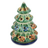 6-inch Stoneware Christmas Tree Candle Holder - Polmedia Polish Pottery H2244B
