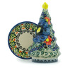 6-inch Stoneware Christmas Tree Candle Holder - Polmedia Polish Pottery H4092I