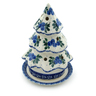 6-inch Stoneware Christmas Tree Candle Holder - Polmedia Polish Pottery H4260I