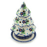 6-inch Stoneware Christmas Tree Candle Holder - Polmedia Polish Pottery H4261I