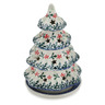 6-inch Stoneware Christmas Tree Candle Holder - Polmedia Polish Pottery H7165C