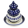 6-inch Stoneware Christmas Tree Candle Holder - Polmedia Polish Pottery H9863C