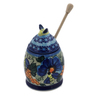 6-inch Stoneware Honey Jar with Dipper - Polmedia Polish Pottery H1437F