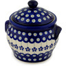 6-inch Stoneware Jar with Lid and Handles - Polmedia Polish Pottery H0261A