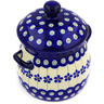 6-inch Stoneware Jar with Lid and Handles - Polmedia Polish Pottery H1067E