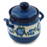 6-inch Stoneware Jar with Lid and Handles - Polmedia Polish Pottery H1673I