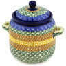 6-inch Stoneware Jar with Lid and Handles - Polmedia Polish Pottery H1975D