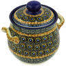 6-inch Stoneware Jar with Lid and Handles - Polmedia Polish Pottery H2162E