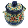 6-inch Stoneware Jar with Lid and Handles - Polmedia Polish Pottery H3887B
