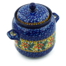 6-inch Stoneware Jar with Lid and Handles - Polmedia Polish Pottery H3977A
