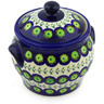 6-inch Stoneware Jar with Lid and Handles - Polmedia Polish Pottery H4324E