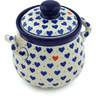 6-inch Stoneware Jar with Lid and Handles - Polmedia Polish Pottery H5606H
