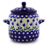 6-inch Stoneware Jar with Lid and Handles - Polmedia Polish Pottery H7258I