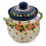 6-inch Stoneware Jar with Lid and Handles - Polmedia Polish Pottery H7625J