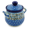 6-inch Stoneware Jar with Lid and Handles - Polmedia Polish Pottery H7627J