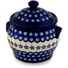 6-inch Stoneware Jar with Lid and Handles - Polmedia Polish Pottery H9423C