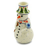 6-inch Stoneware Snowman Candle Holder - Polmedia Polish Pottery H4588J