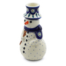 6-inch Stoneware Snowman Candle Holder - Polmedia Polish Pottery H6051C