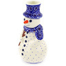 6-inch Stoneware Snowman Candle Holder - Polmedia Polish Pottery H7190D