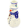 6-inch Stoneware Snowman Candle Holder - Polmedia Polish Pottery H7191D