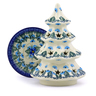 7-inch Stoneware Christmas Tree Candle Holder - Polmedia Polish Pottery H0788I