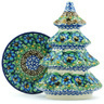 7-inch Stoneware Christmas Tree Candle Holder - Polmedia Polish Pottery H4793H