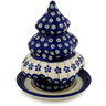 7-inch Stoneware Christmas Tree Candle Holder - Polmedia Polish Pottery H9481C