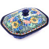 7-inch Stoneware Dish with Cover - Polmedia Polish Pottery H0201G