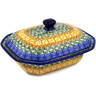 7-inch Stoneware Dish with Cover - Polmedia Polish Pottery H1621D