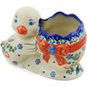 7-inch Stoneware Duck Shaped Jar - Polmedia Polish Pottery H5967K