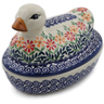 7-inch Stoneware Duck Shaped Jar - Polmedia Polish Pottery H6712K