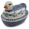 7-inch Stoneware Duck Shaped Jar - Polmedia Polish Pottery H6768K