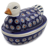 7-inch Stoneware Duck Shaped Jar - Polmedia Polish Pottery H6808K