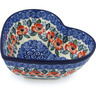 7-inch Stoneware Heart Shaped Bowl - Polmedia Polish Pottery H8036G