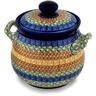 7-inch Stoneware Jar with Lid and Handles - Polmedia Polish Pottery H0022D