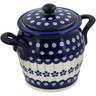 7-inch Stoneware Jar with Lid and Handles - Polmedia Polish Pottery H0597A