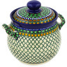 7-inch Stoneware Jar with Lid and Handles - Polmedia Polish Pottery H2129E