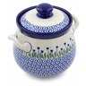 7-inch Stoneware Jar with Lid and Handles - Polmedia Polish Pottery H2621B