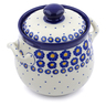 7-inch Stoneware Jar with Lid and Handles - Polmedia Polish Pottery H2852J
